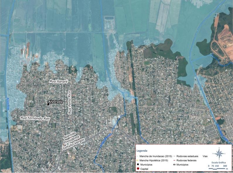 Imagem mostra a área alagada em Alvorada durante a enchente de 2015   Foto: Metroplan / Divulgação / OA